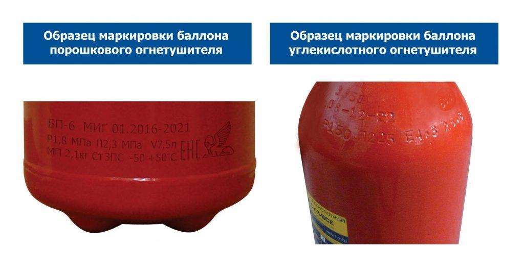 Заводской номер и дата изготовления на корпусе огнетушителя