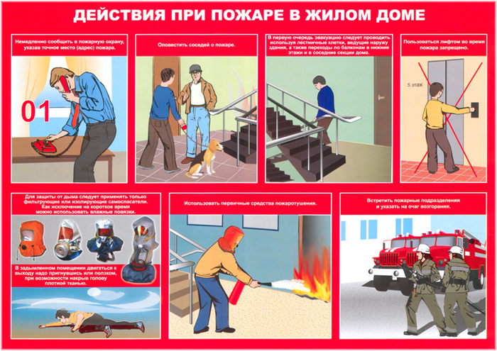Действия при пожаре в жилом доме
