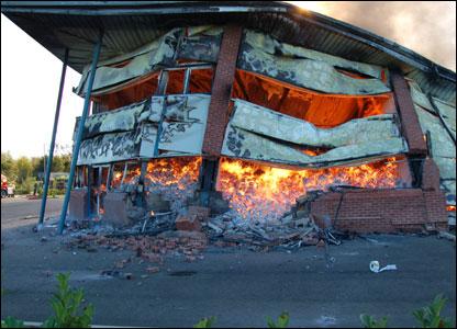 Обрушение здания при пожаре