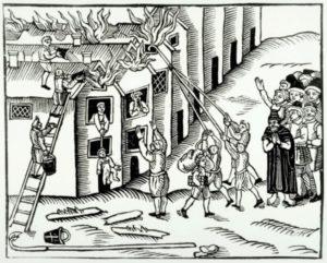 Гравюра «Тушение пожара» Изображенный пожарный инвентарь практически не изменился с того времени