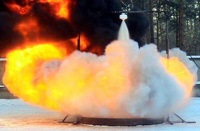 Порошковое пожаротушение в действии