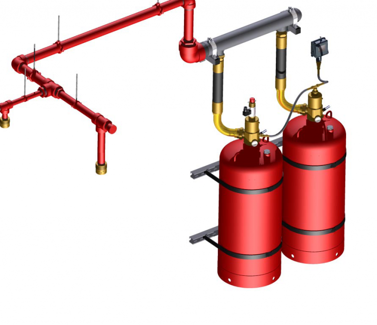 Схема газового пожаротушения