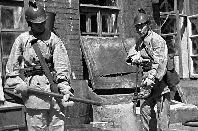 Работа пожарного расчета 1920-1930 годы
