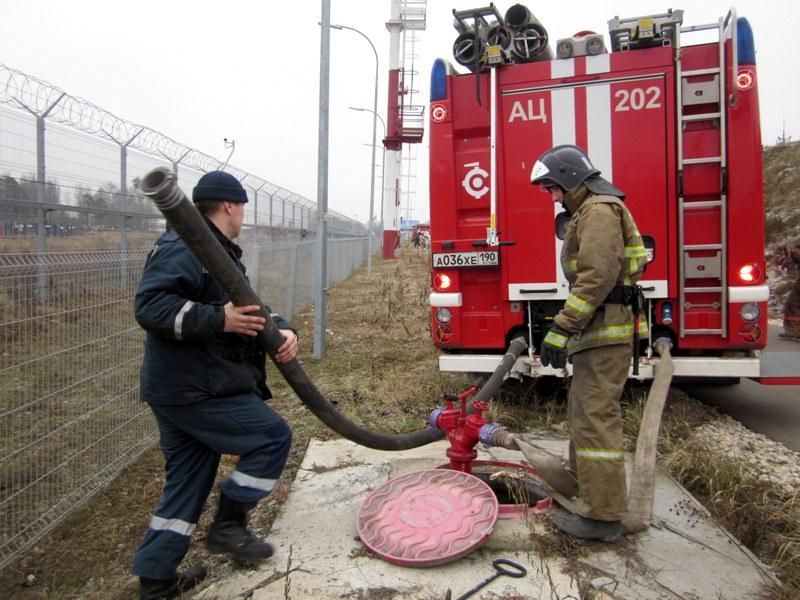 Учение пожарных с использование НППВ