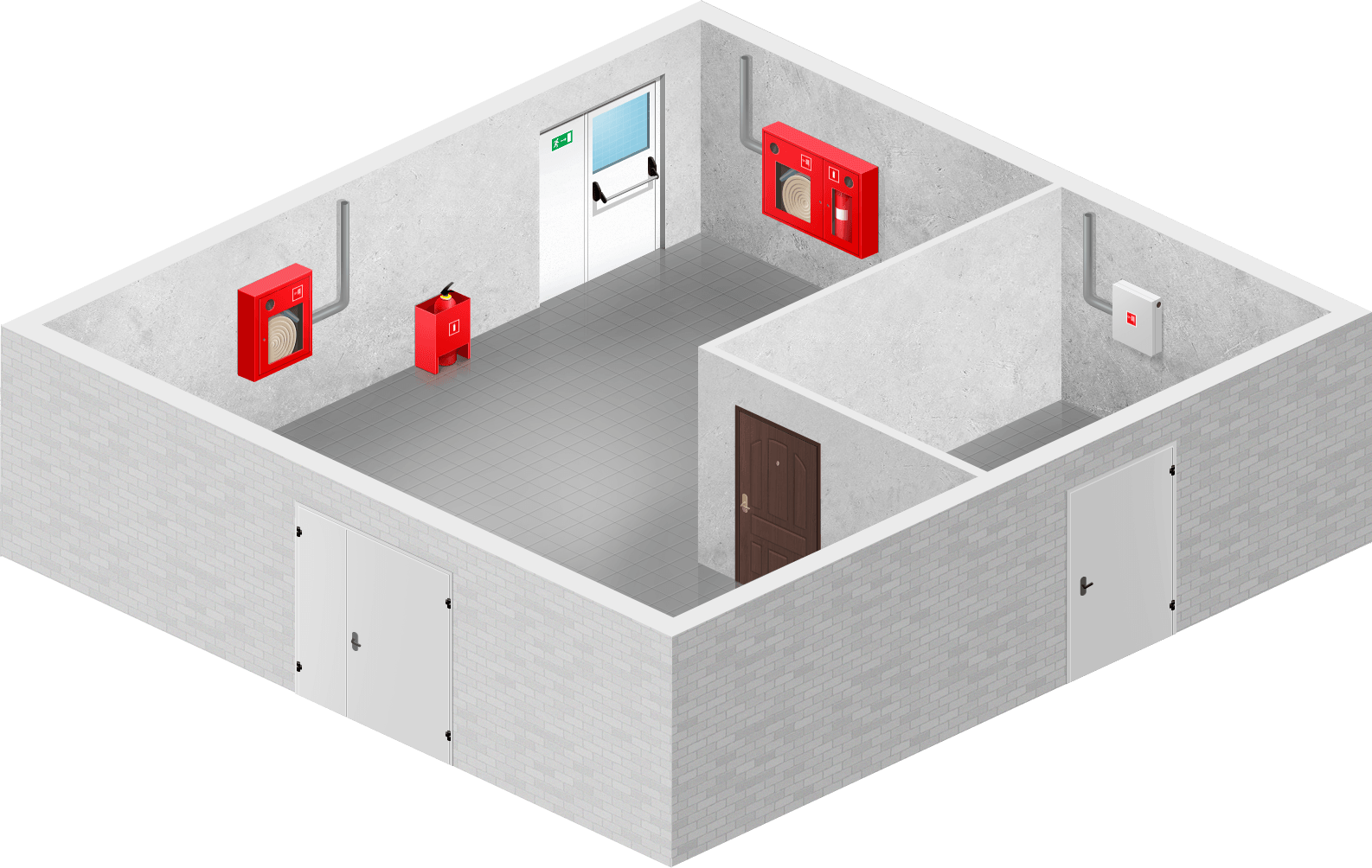 Варианты размещения пожарных шкафов внутри помещения