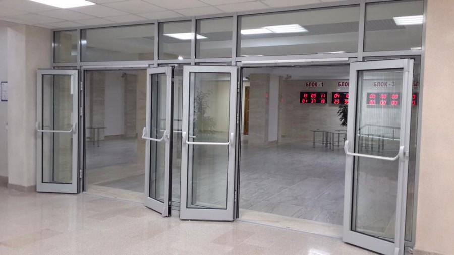 Дверные конструкции 2-ого типа со стеклянными перекрытиями
