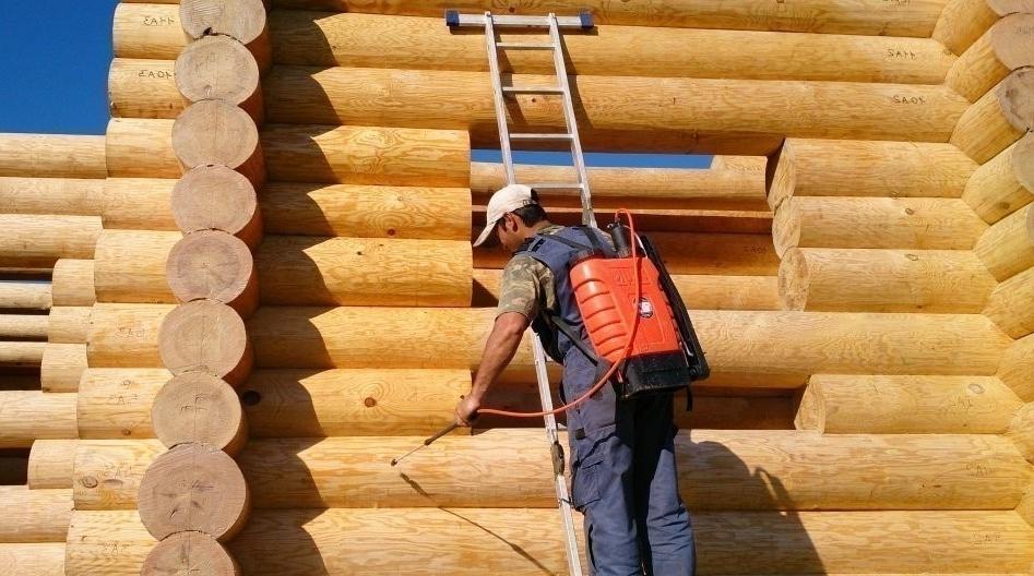 Обработка готового сруба дома из бревен