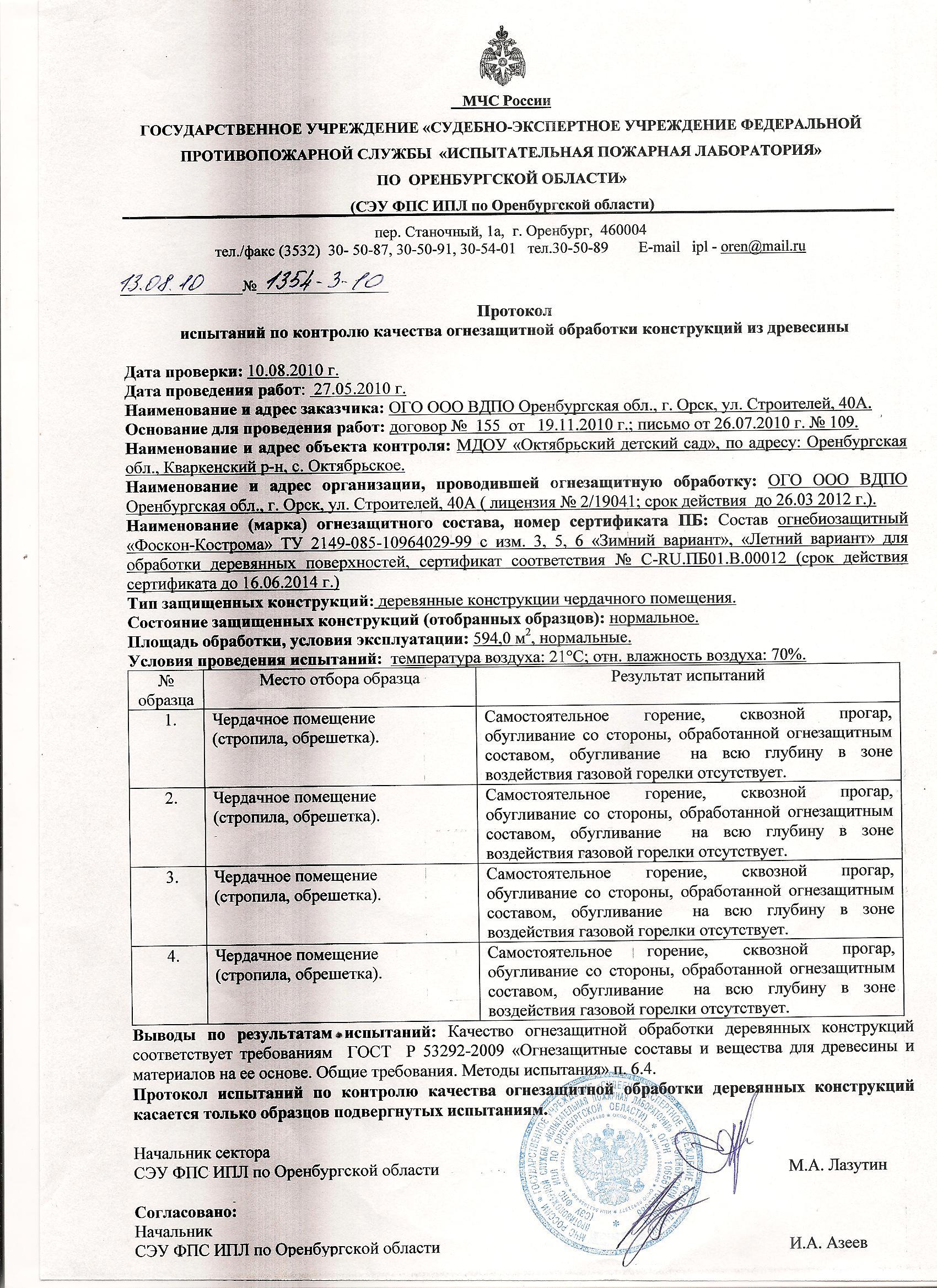 Протокол, составленный после испытания качества состояния противопожарной огнезащиты деревянных конструкций здания