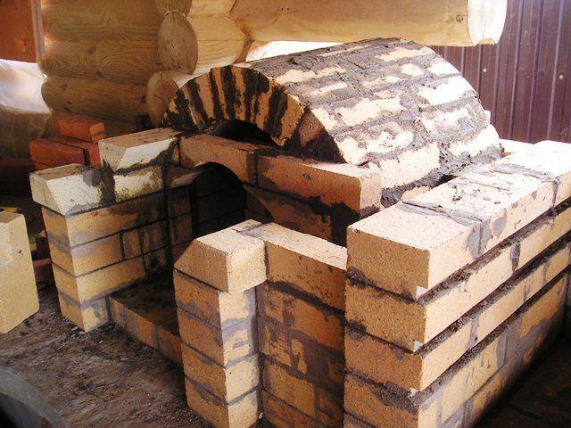 Камин из шамотного кирпича и раствор огнестойкой глины