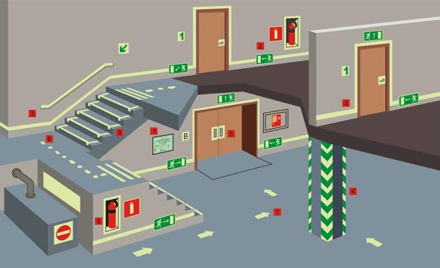 Краской АКТЕРМ КМ 0 декорируются стены и потолок, обозначается маршрут эвакуации