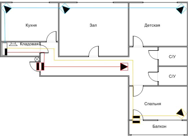 Схема пороговой системы сигнализации в 3-комнатной квартире