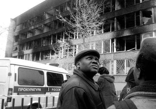 Здание общежития РУДН после пожара