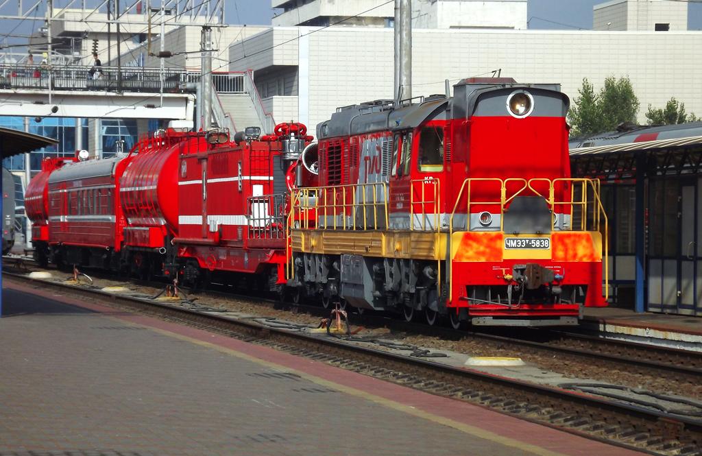 Пожарный поезд в полном комплекте с локомотивом