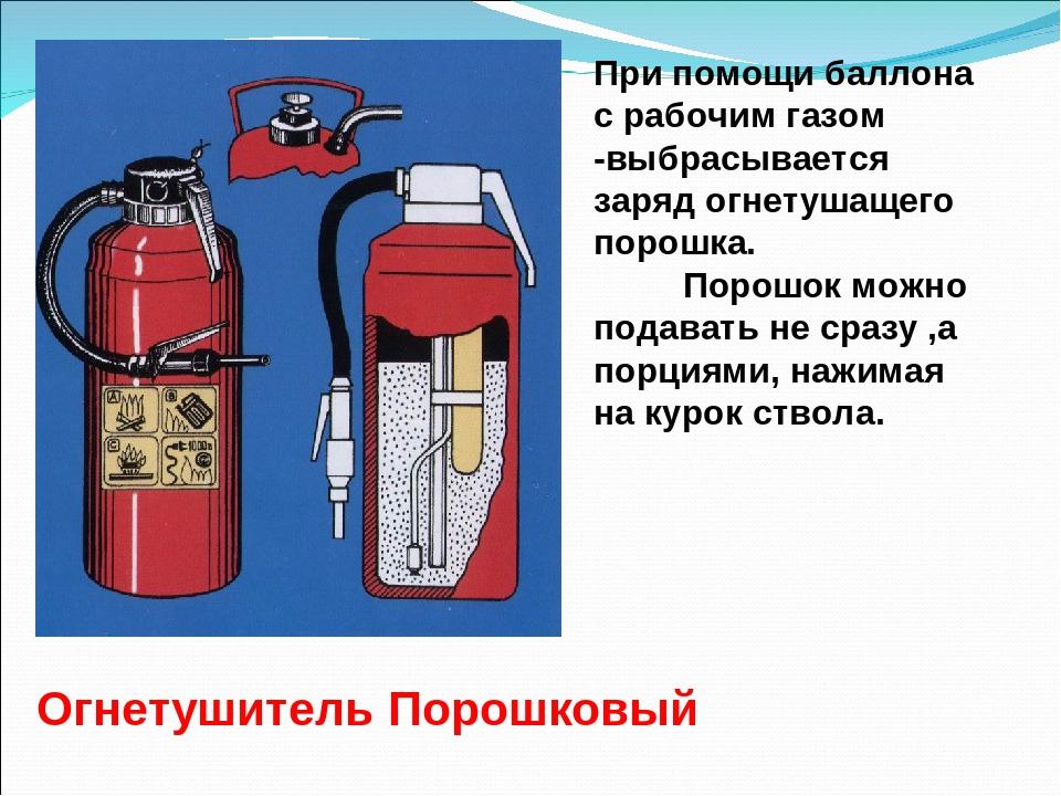 Порошковый огнетушитель с газовым баллончиком внутри